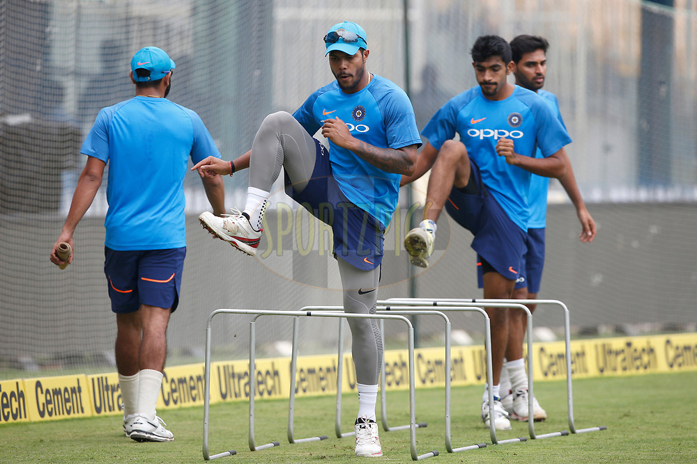 Umesh Yadav of India with team mates during the Indian practice sessions held at the M. A. Chidambaram Stadium in Chennai ahead of the 1st One Day International match.  16th September 2017<br /> <br /> Photo by Deepak Malik / BCCI / SPORTZPICS