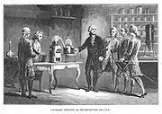 Antoine Laurent Lavoisier (1743-1894) French chemist, demonstrating his discovery of oxygen, 1776. On the table in the right background of the picture is his calorimeter. From Louis Figuier 'Vies des Savant Illustres du XVIIIe Siecle', Paris 1874. Engraving