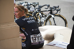 Kirsten Wild (NED) of Wiggle High5 Cycling Team concentrates before the Prudential RideLondon Classique - a 64.8 km road race, starting and finishing in central London on July 28, 2018, in London, United Kingdom. (Photo by Balint Hamvas/Velofocus.com)