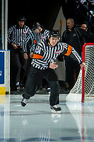KELOWNA, CANADA - APRIL 7: Referee Kevin Bennett enters the ice on April 7, 2017 at Prospera Place in Kelowna, British Columbia, Canada.  (Photo by Marissa Baecker/Shoot the Breeze)  *** Local Caption ***