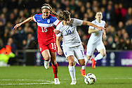 Fran Kirby of England Women (right)  holds off Morgan Brian of USA Women (left) during the International Friendly match at stadium:mk, Milton Keynes<br /> Picture by David Horn/Focus Images Ltd +44 7545 970036<br /> 13/02/2015