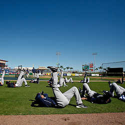 March 05, 2011; Clearwater, FL, USA; New York Yankees players stretch out on the field prior to a spring training game against the Philadelphia Phillies at Bright House Networks Field. Mandatory Credit: Derick E. Hingle-US PRESSWIRE