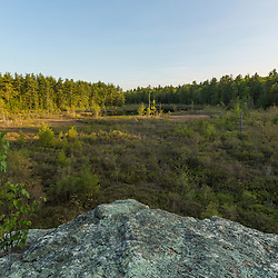 Wetlands in Barrington, New Hampshire forest as seen from atop a lage glacial erratic.