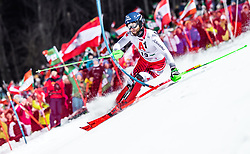 "29.01.2019, Planai, Schladming, AUT, FIS Weltcup Ski Alpin, Slalom, Herren, 1. Lauf, im Bild Marco Schwarz (AUT) // Marco Schwarz of Austria in action during his 1st run of men's Slalom ""the Nightrace"" of FIS ski alpine world cup at the Planai in Schladming, Austria on 2019/01/29. EXPA Pictures © 2019, PhotoCredit: EXPA/ JFK"