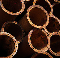 Stack of rusting drainage pipes used for tidal sediment diversion near Wanzhou,  Zhejang, China.
