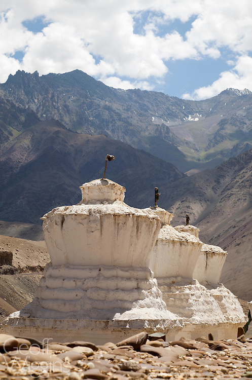 Buddhist Stupas near Saspool in the Nubrah Valley, Ladakh, Northern India