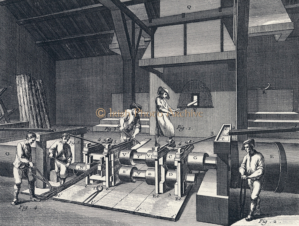Wrought Iron: Rolling and slitting mill. From Diderot 'Encyclopedie' c1751.