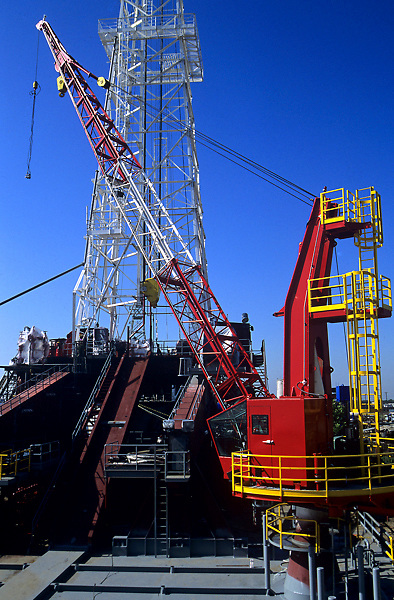 Stock photo of a crane on a rig