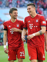 20.04.2019, Allianz Arena, Muenchen, GER, 1. FBL, FC Bayern Muenchen vs SV Werder Bremen, 30. Runde, im Bild Thomas Müller und Niklas Süle nach dem Spiel // during the German Bundesliga 30th round match between FC Bayern Muenchen and SV Werder Bremen at the Allianz Arena in Muenchen, Germany on 2019/04/20. EXPA Pictures © 2019, PhotoCredit: EXPA/ SM<br /> <br /> *****ATTENTION - OUT of GER*****