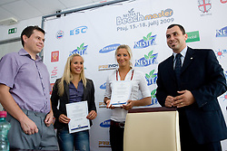 Jure Jeraj, Simona Fabjan, Erika Fabjan and Igor Dolinsek, general secretary of Slovenian volleyball federation at press conference of Nestea BeachMaster tournament 2009 and Slovenian Beach Volleyball Tour,  on July 9, 2009, in Tivoli, Ljubljana, Slovenia. (Photo by Vid Ponikvar / Sportida)