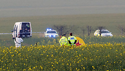 © Licensed to London News Pictures. 29/03/2014. Essex, UK A light aircraft has crashed in a field in Essex, killing the pilot and a passenger. Emergency services rushed to the scene after reports a plane had gone down in a field near the A414 outside Chelmsford in Essex.Essex Police said the Yak 52 aircraft's pilot and passenger, both men from Essex, were killed after the plane flew out from North Weald airfield. Photo credit : Simon Ford/LNP