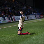 2nd December 2017, Global Energy Stadium, Dingwall, Scotland; Scottish Premiership football, Ross County versus Dundee; Dundee's Faissal El Bakhtaoui celebrates after scoring for 2-0