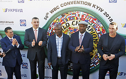 October 1, 2018 - Kiev, Ukraine - President of the World Boxing Council (WBC) MAURICIO SULAIMAN, former heavyweight boxing champion and current Mayor of Kiev VITALI KLITSCHKO, former Boxing Champion EVANDER HOLYFIELD, former Boxing Champion LENNOX LEWIS and Ukrainian boxer VLADIMIR KLITSCHKO (from L to R) attend the opening of the 56th World Boxing Convention in Kiev, Ukraine, on 1 October 2018.The WBC 56th congress in which take part boxing legends Evander Holyfield,Lennox Lewis, Eric Morales and about 700 participants from 160 countries runs in Kiev from from September 30 to October 5. (Credit Image: © Serg Glovny/ZUMA Wire)