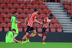 SOUTHAMPTON, ENGLAND - Monday, April 10, 2017: Southampton's Olufela Olomola celebrates scoring the second goal against Liverpool during FA Premier League 2 Division 1 Under-23 match at St.Mary's Stadium. (Pic by David Rawcliffe/Propaganda)