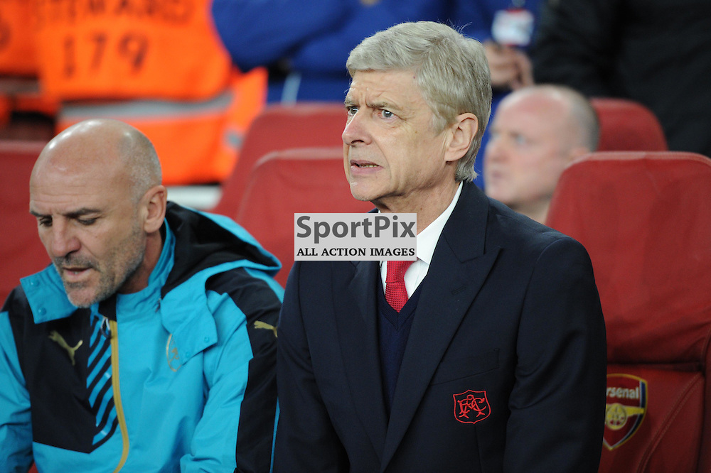 Arsenal manager Arsene Wenger takes his seat on the bench before the Arsenal v Dinamo Zagreb game in the UEFA Champions League on the 24th November 2015 at the Emirates Stadium.