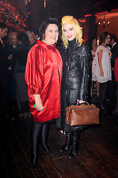 Left to right, SUZY MENKES and PAM HOGG at a Celebration of 10 Years of IHT Luxury Conferences during the International Herald Tribune Heritage Luxury Conference held at One Mayfair, 13 1/2 North Audley Streer, London on 9th November 2010.