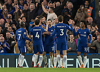 Football - 2017 / 2018 Premier League - Chelsea vs Crystal Palace<br /> <br /> Chelsea players congratulate Davide Zappacosta (Chelsea FC)  for his part in the second goal at Stamford Bridge <br /> <br /> COLORSPORT/DANIEL BEARHAM