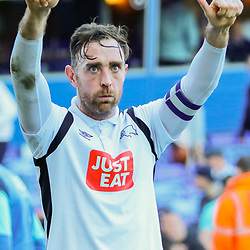 Derby County Captian Richard Keogh thanks the traveling fans after the final whistle