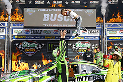April 8, 2018 - Ft. Worth, Texas, United States of America - April 08, 2018 - Ft. Worth, Texas, USA: Kyle Busch (18) wins the O'Reilly Auto Parts 500 at Texas Motor Speedway in Ft. Worth, Texas. (Credit Image: © Chris Owens Asp Inc/ASP via ZUMA Wire)