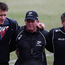 DURBAN, SOUTH AFRICA, 1 August, 2016 - Ryan Strudwick (Assistant Coach) of the Cell C Sharks with Sean Everitt (Assistant Coach) of the Cell C Sharks and Robert du Preez (Head Coach) of the Cell C Sharks during The Cell C Sharks Currie Cup training session at Growthpoint Kings Park in Durban, South Africa. (Photo by Steve Haag)<br /> <br /> images for social media must have consent from Steve Haag