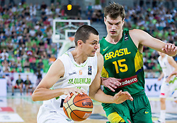 Jure Balazic of Slovenia and Tiago Splitter of Brasil during friendly basketball match between National Teams of Slovenia and Brasil at Day 2 of Telemach Tournament on August 22, 2014 in Arena Stozice, Ljubljana, Slovenia. Photo by Vid Ponikvar / Sportida
