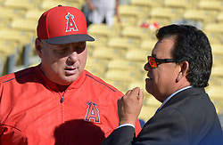 June 27, 2017 - Los Angeles, California, U.S. - Los Angeles Angels manager Mike Scioscia talks with former Los Angeles Dodgers Fernando Valenzuela prior to a Major League baseball game between the Los Angeles Angels and the Los Angeles Dodgers at Dodger Stadium on Tuesday, June 27, 2017 in Los Angeles. (Photo by Keith Birmingham, Pasadena Star-News/SCNG) (Credit Image: © San Gabriel Valley Tribune via ZUMA Wire)