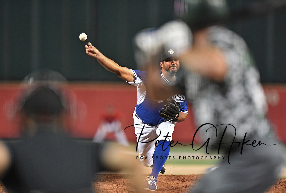 Pitcher Josh Beckett #61 of the Kansas Stars delivers a pitch against the Colorado Xpress in the fifth inning during the NBC World Series on August 6, 2016 at Lawrence-Dumont Stadium in Wichita, Kansas.