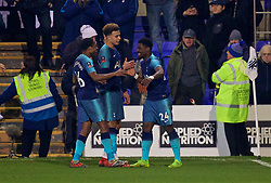 BIRKENHEAD, ENGLAND - Friday, January 4, 2019: Tottenham Hotspur's Serge Aurier (R) celebrates scoring the third goal with team-mates during the FA Cup 3rd Round match between Tranmere Rovers FC and Tottenham Hotspur FC at Prenton Park. (Pic by David Rawcliffe/Propaganda)