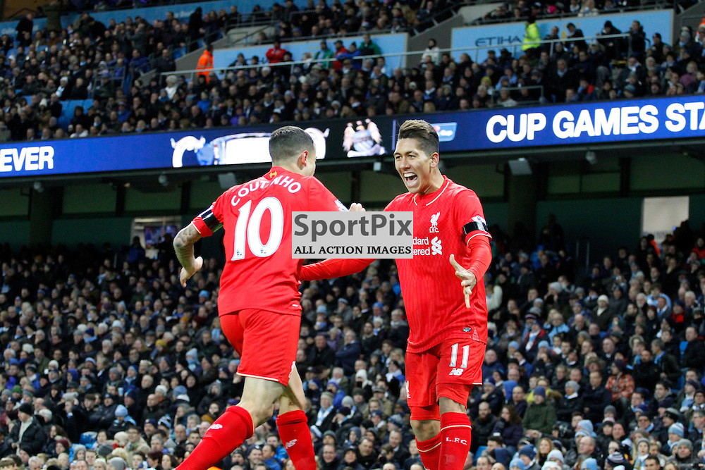 Roberto Firmino and Philippe Coutinho celebrate Sanga's own goal during Manchester City vs Liverpool, Barclays Premier League, Saturday 21st November 2015, Etihad Stadium, Manchester
