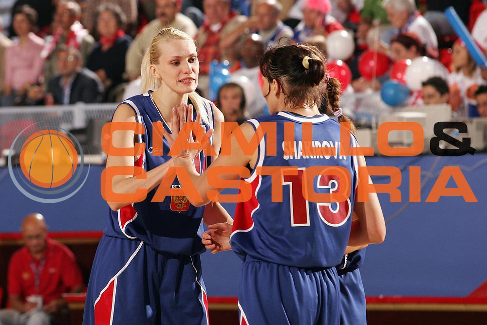 DESCRIZIONE : Ankara Eurobasket Women 2005 Russia-Francia<br /> GIOCATORE : Stepanova Sharikova<br /> SQUADRA : Russia<br /> EVENTO : Eurobasket Women 2005 Campionati Europei Donne 2005<br /> GARA : Russia Francia Russia France<br /> DATA : 09/09/2005<br /> CATEGORIA :<br /> SPORT : Pallacanestro<br /> AUTORE : Ciamillo&amp;Castoria/Fiba Europe