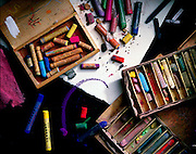still life of colorful pastels