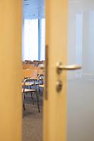 Conference room with ajar door