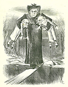 Set Down Two, and Carry One.'?: Gladstone, the British Prime Minister, in a quandary over which of the controversial Irish bills to jettison.   John Tenniel cartoon from 'Punch', London, 3 April 1886.