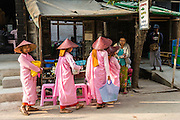 Myanmar, Burma, queuing for rice, nuns