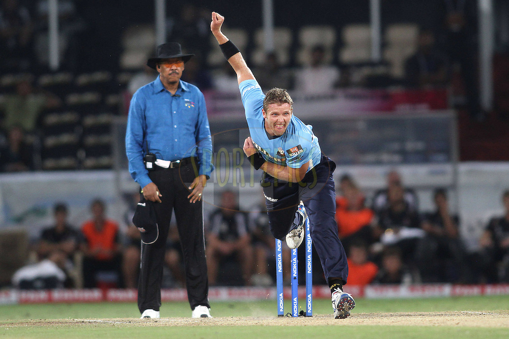 Michael Bates of the Auckland Aces sends down a delivery during the CLT20 - Q4 match between Somerest and Auckland Aces held at the Rajiv Gandhi International Stadium, Hyderabad on the 20th September 2011..Photo by Shaun Roy/BCCI/SPORTZPICS