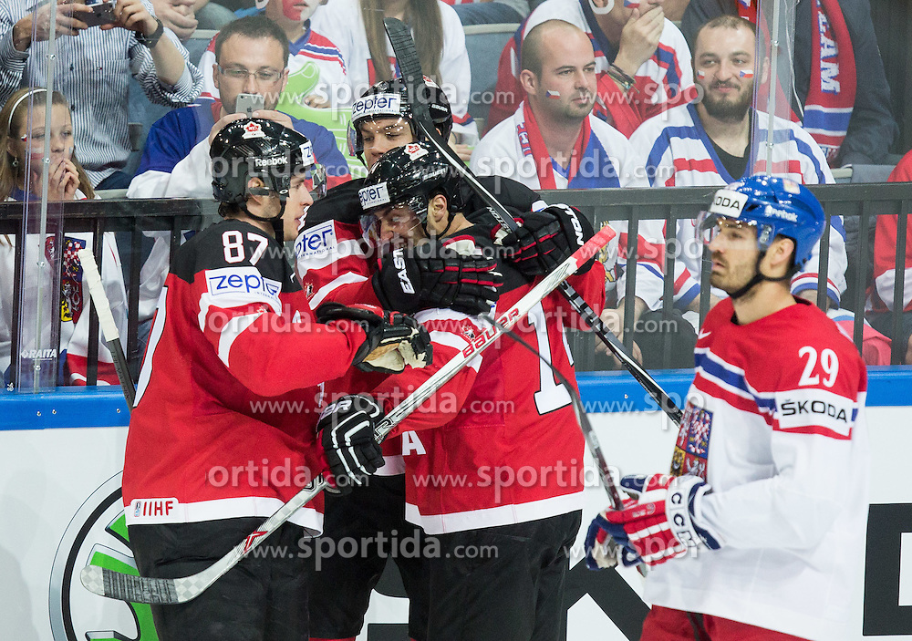 Sidney Crosby of Canada, Taylor Hall of Canada and Jordan Eberle of Canada  celebrate after scoring first goal for Canada during Ice Hockey match between Canada and Czech Republic at Semifinals of 2015 IIHF World Championship, on May 16, 2015 in O2 Arena, Prague, Czech Republic. Photo by Vid Ponikvar / Sportida