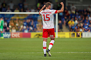 Rotherham United defender Clark Robertson (15) celebrating during the EFL Sky Bet League 1 match between AFC Wimbledon and Rotherham United at the Cherry Red Records Stadium, Kingston, England on 3 August 2019.