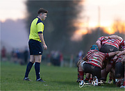 Referee Ben Whitehouse during today's game.<br /> <br /> Photographer: Dan Minto<br /> <br /> Indigo Welsh Premiership Rugby - Round 12 - Llandovery RFC v Carmarthen Quins RFC - Saturday 28th December 2019 - Church Bank, Llandovery, South Wales, UK.<br /> <br /> World Copyright © Dan Minto Photography<br /> <br /> mail@danmintophotography.com <br /> www.danmintophotography.com