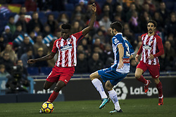 December 22, 2017 - Barcelona, Spain - BARCELONA, SPAIN - DECEMBER 22:  05 Thomas from Ghana of Atletico de Madrid defended by 03 Aaron from Spain of RCD Espanyol during the match of La Liga Santander between RCD Espanyol v Atletico de Madrid, at RCD Stadium in Barcelona on 22 of December, 2017. (Credit Image: © Xavier Bonilla/NurPhoto via ZUMA Press)