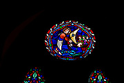 Victorian 19th century stained glass window, church of Bradfield Combust, Suffolk, England, UK c 1861