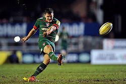 Freddie Burns of Leicester Tigers kicks for the posts - Photo mandatory by-line: Patrick Khachfe/JMP - Mobile: 07966 386802 13/02/2015 - SPORT - RUGBY UNION - Leicester - Welford Road - Leicester Tigers v Gloucester Rugby - Aviva Premiership