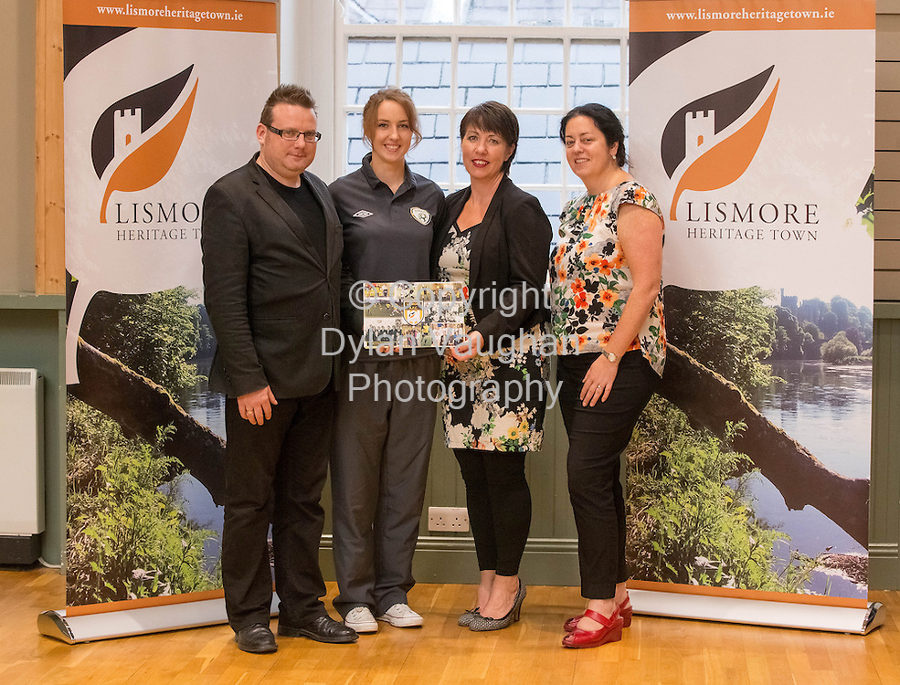 No Charge for repro<br /> <br /> 15/8/2013<br /> Eamonn Maxwell (left) and Mealla Fahey of Lismore Marketing Group (right), with Karen Duggan, and Orla Russell from Lismore A.F.C pictured at the launch of the Lismore A.F.C. calendar and new logo incorporating the Brand Lismore symbol.<br /> <br /> Picture Dylan Vaughan.