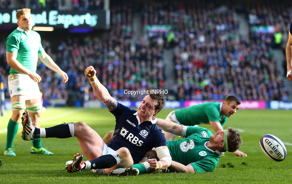 RBS 6 Nations Championship, BT Murrayfield, Edinburgh, Scotland 21/3/2015<br /> Scotland vs Ireland<br /> Scotland's Stuart Hogg celebrates after touching down which is subsequently disallowed<br /> Mandatory Credit &copy;INPHO/Cathal Noonan