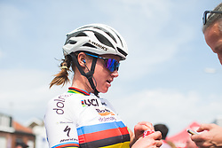 Chantal Blaak (NED) of Boels-Dolmans Cycling Team tries to cool down after Liege-Bastogne-Liege - a 136 km road race, between Bastogne and Ans on April 22, 2018, in Wallonia, Belgium. (Photo by Balint Hamvas/Velofocus.com)