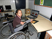 "Nature has bot been kind to her, but she does not complain.  Naseeba, 12, was born with only one leg and a short deformed arm.  Defying her acute disability, the girl has not only excelled in studies, sports and painting, but also helps her mother in domestic chores and teacher children in her village after school.<br /> She deftly uses her only foot like her hand for eating, writing, drawing, playing and taking care of others things.<br /> Naseeba belongs to Sasoi village in sonipat district where her father Shahabuddin works as a welder . A student at Renu Vidya Mandir, an institute of special education, vocational rehabilitation and research located in Sonipat,  she has three brothers and a sister.<br /> Thanks to the vocational training, physiotherapy and occupational therapy at the institute, Naseeba has developed a flair for painting, taste for music and excelled in sports.<br /> <br /> Despite her dibilitating disability, in three of her four limbs, she has received the gold medal at a district level wheel chair race. She is preparing for the state level competition. <br /> <br /> ""Mathematics is my favourite subject, I also tech children at my village. I like listening to music and participating in sports.  I am fond of drawing and painting,"" said Naseeba.<br /> <br /> ""I want to become a teacher when i grow up."" she said  on being asked about her aspiration. <br /> <br /> Naseeba's teacher point out she not only takes care of her personal routine, but helps her mother with cooking and other domestic chores.  In her spare time, she likes to watch television.  <br /> <br /> ""We have different sections for special and normal chiildern.  Naseeba had joined the section meant for the special children, but seeing her performance, we shifted her to the regular section.  She is good at studies."" says Dhawni Gupta, director of the institute.    <br /> ©Exclusivepix Media"