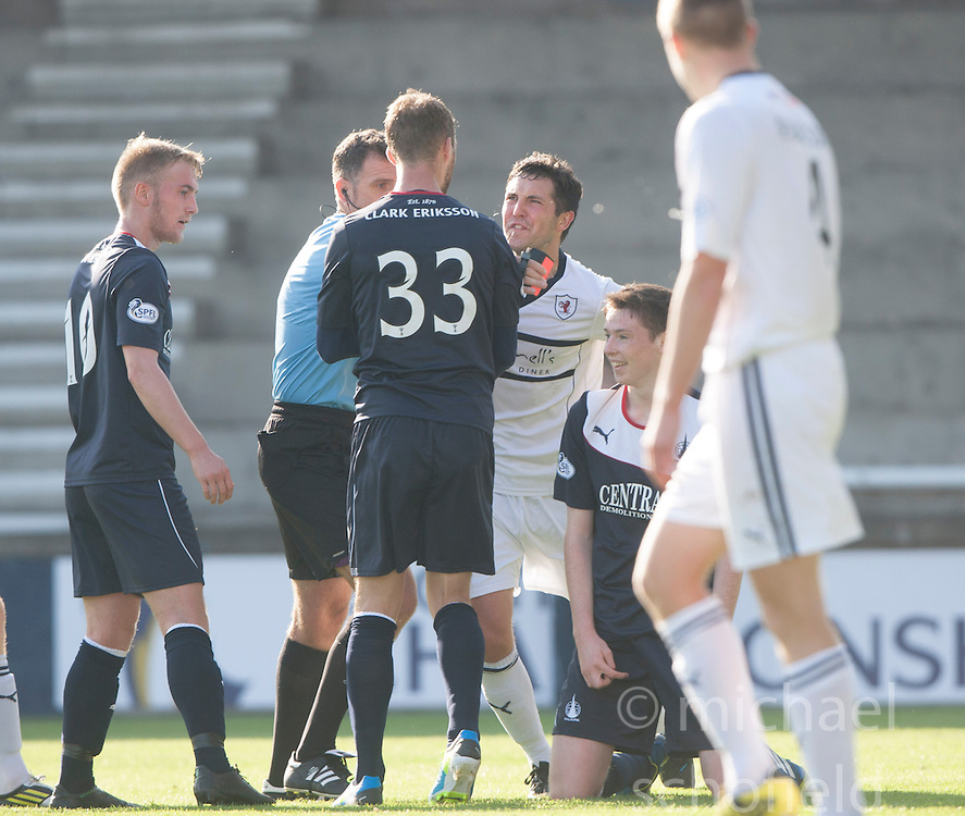 Raith Rovers players react to Falkirk's Conor McGrandles dive.<br /> Raith Rovers 1 v 1 Falkirk, Scottish Championship 28/9/2013.<br /> &copy;Michael Schofield.