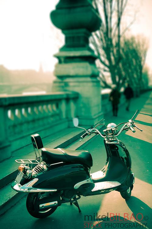 Street view near the Alexandre III bridge.<br /> Paris, France.