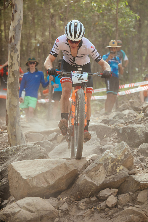 New Zealand's Anton Cooper racing during an Australian National XCO series on the Commonwealth Games course at Nerang, Queensland. Taking a 1st place.