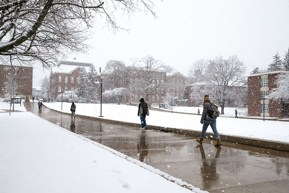 On the final day of class before Spring Break, a snowstorm covers the Kutztown University campus Friday, March 10, 2017.