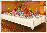 Table covered with a linen cloth and set for a formal dinner party. Shaded candles provide light.  Oleograph from 'Household Management' by Isabella Beeton (London, 1906).